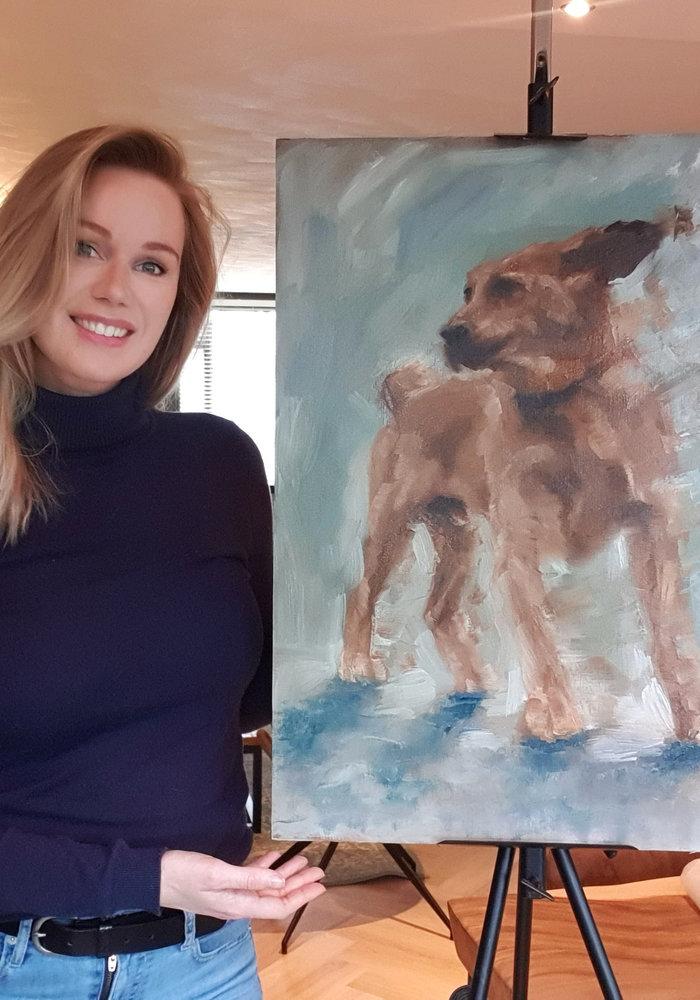 YouTube Olie Schilderij Hond gemaakt door Isabel