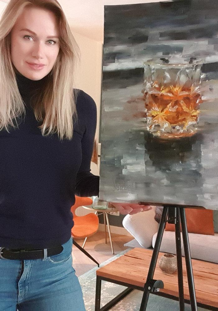 Olie Schilderij whisky glas gemaakt door Isabel