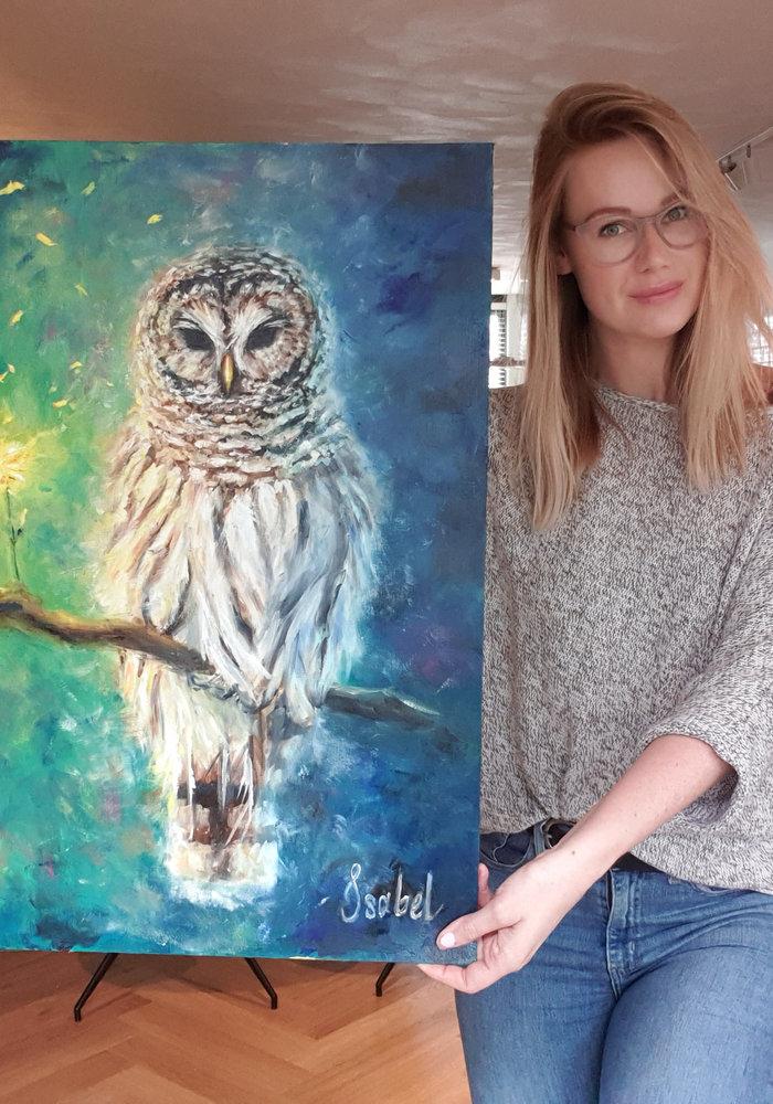 Olie Schilderij Uil gemaakt door Isabel