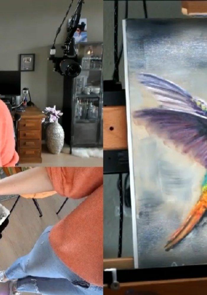 Twitch Olie Schilderij Kolibrie gemaakt door Isabel