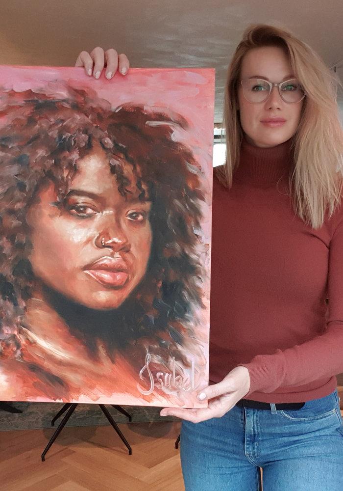 Olie Schilderij Portret gemaakt door Isabel