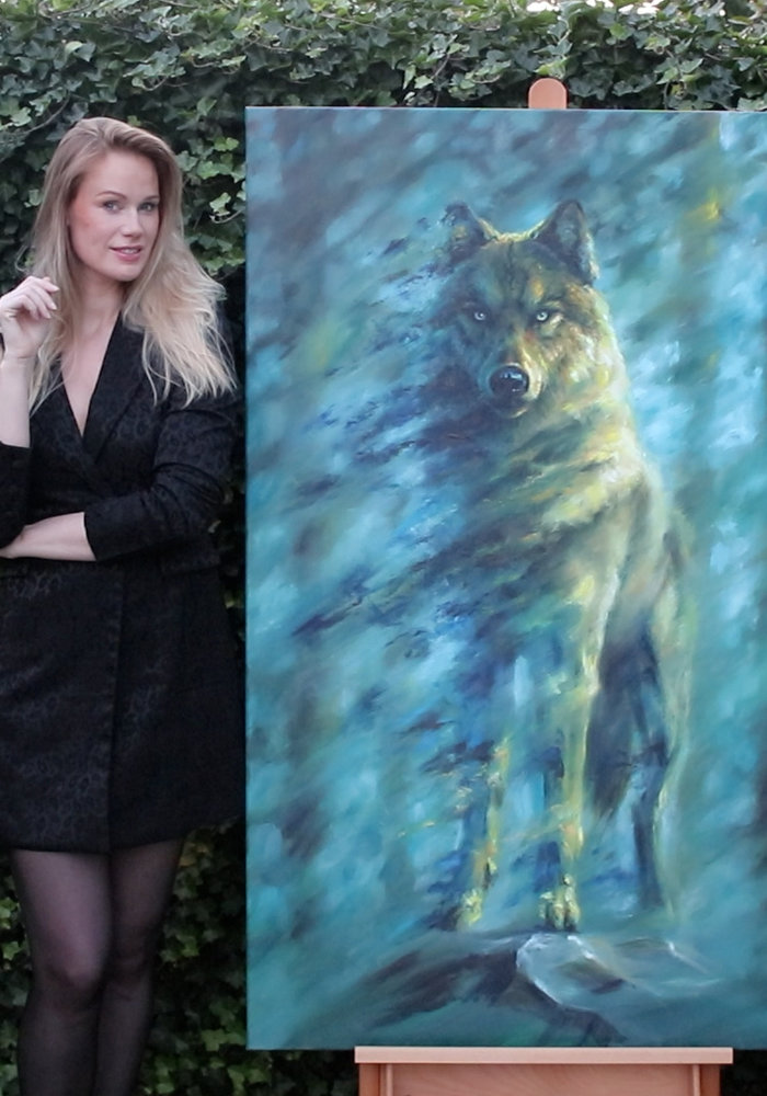 Oil Painting wolf made by Isabel