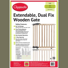 Clippasafe Extendable Dual Fix Wooden Gate  68-102 cm