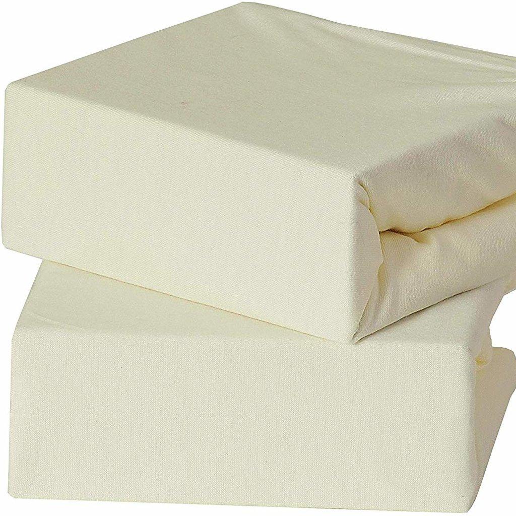 Baby Elegence 2 Pack Travel Cot  Sheet - Cream