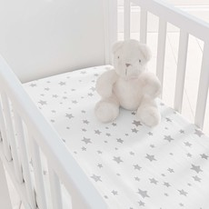 2 Pack Crib Fitted Sheets - Grey Star