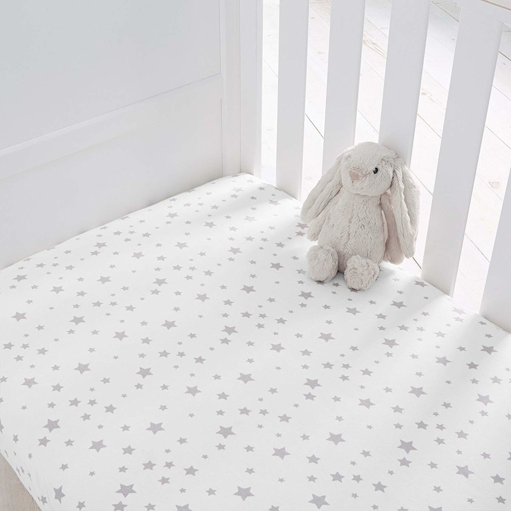 Baby Elegance Baby Elegance 2 Pack CotBed Sheets - Grey Star