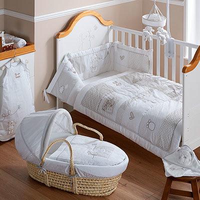 B is for Bear Crib Set - White