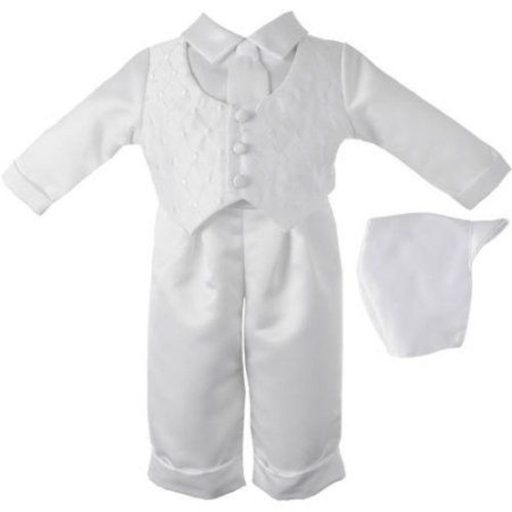 White Check 4pc Christening Suit White   6-9mth