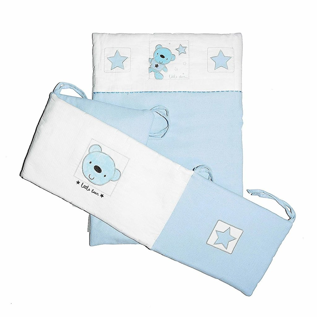 Baby Elegance Star Ted Blue Crib Set