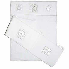 Baby Elegance Star Ted Blue Cot Quilt And Bumper White