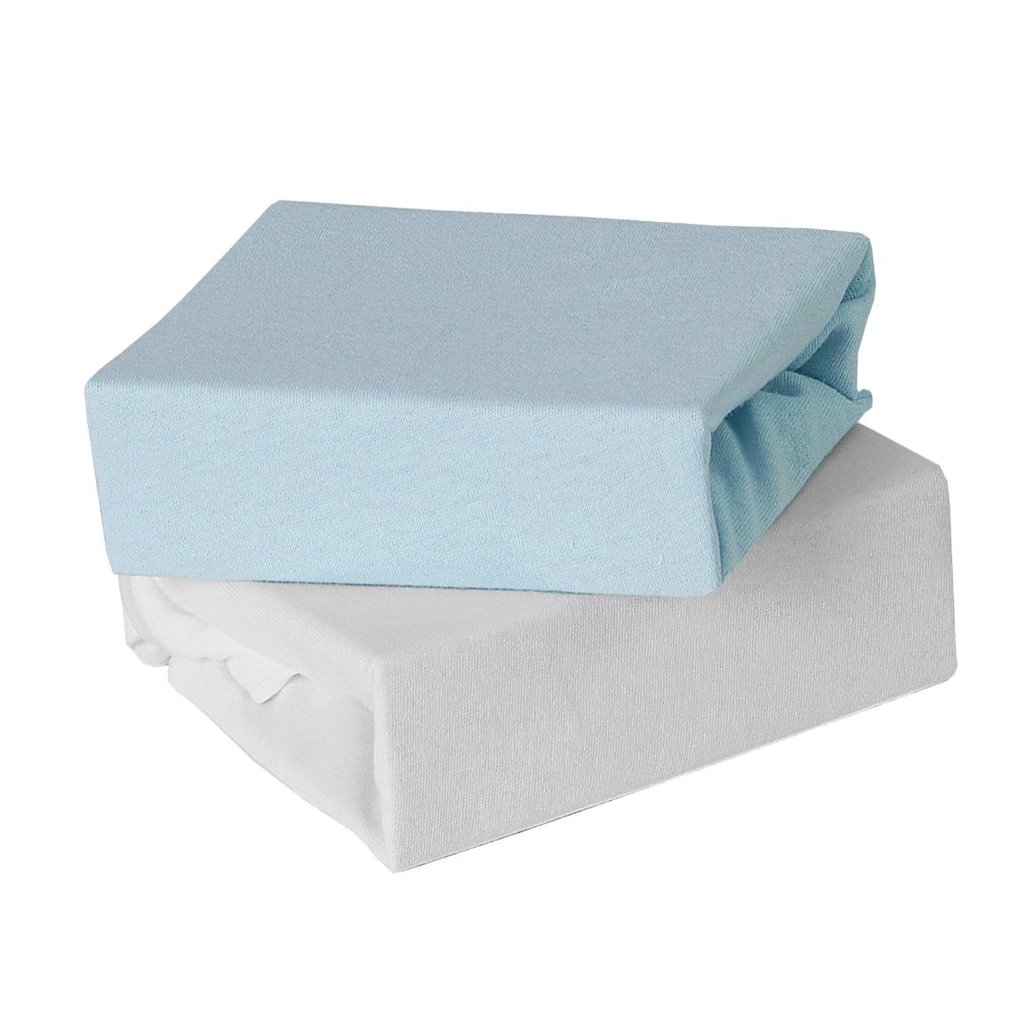 2 Pack Travel Cot Fitted Sheet - Blue