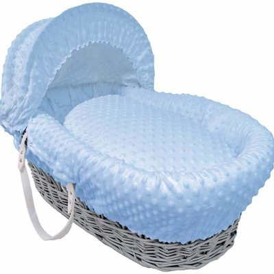 Cuddles Grey Wicker Blue Dimples Moses Basket