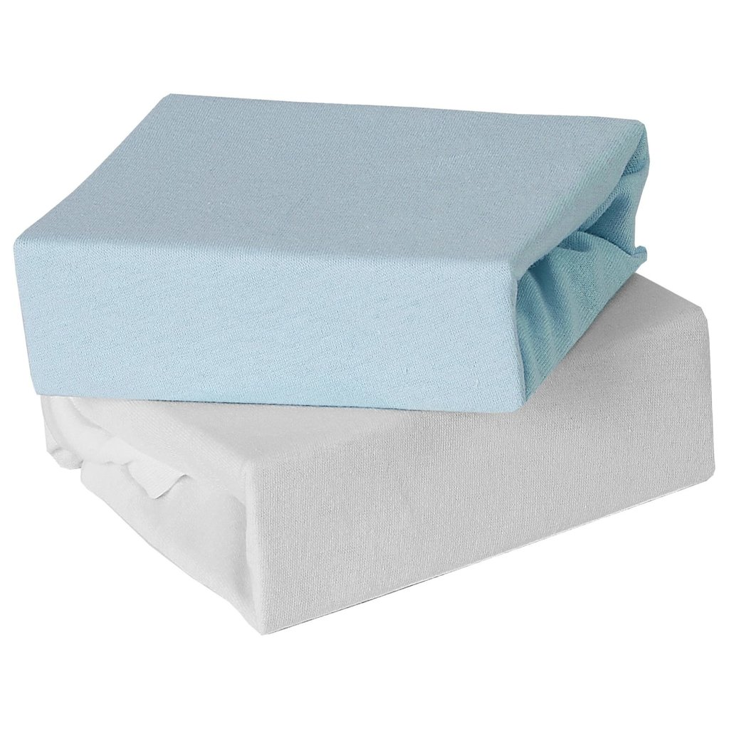 Baby Elegance 2 Pack Moses Fitted Sheets-Blue