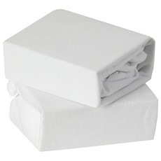 Baby Elegance 2 Pack Moses Fitted Sheet - White