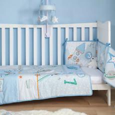 Cot /Cot Bed Quilt & Bumper Set Clair De Lune Forty Winks Blue