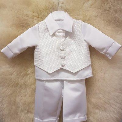 vivaki White Check 4 pc Christening Suit 9-12m