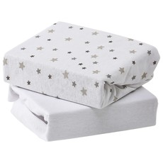 Baby Elegance Baby Elegance Travel Cot Fitted Sheets 2pk Grey Star