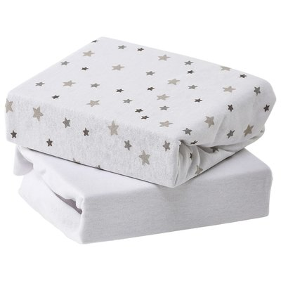 Baby Elegance Travel Cot Fitted Sheets 2pk Grey Star