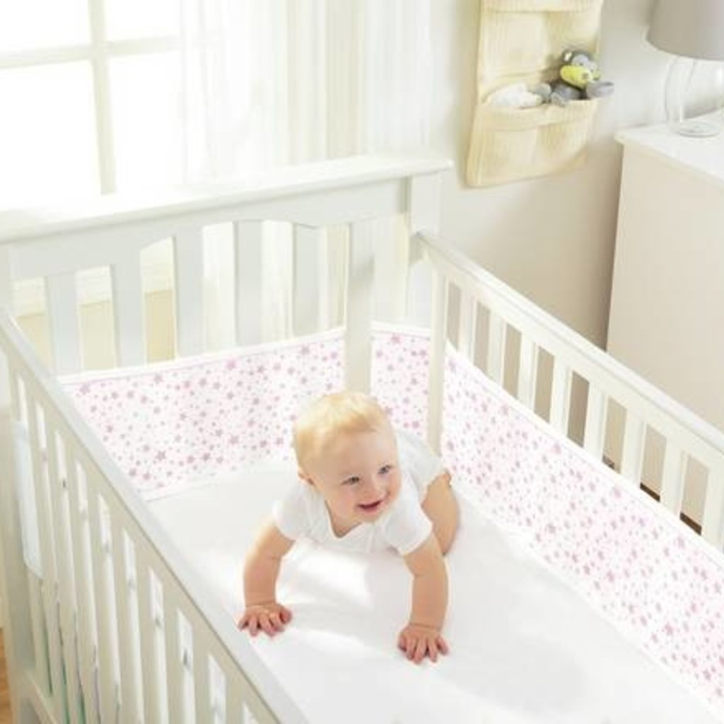 Breathable Mesh Cot Liner Twinkle Pink