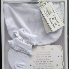 Nursery Time Christening Bib and Socks Set