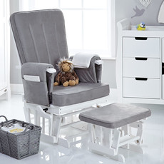 Obaby Obaby - Deluxe Reclining Glider Chair and Stool – White with Grey Cushion