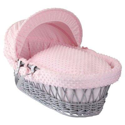 Cuddles Grey Wicker Pink Dimples Moses Basket