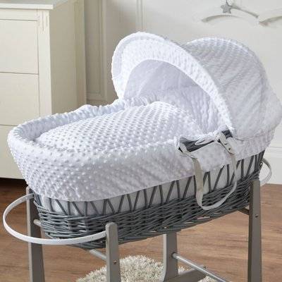Cuddles Grey Wicker White Dimples Moses Basket