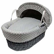Grey Wicker Grey Dimples Moses Basket