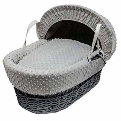 Cuddles Grey Wicker Grey Dimples Moses Basket