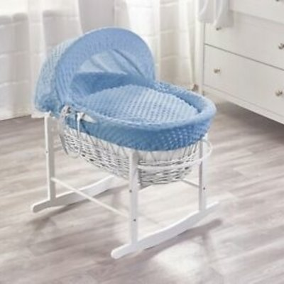 White Wicker Blue Dimples Moses Basket