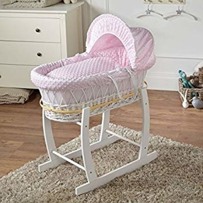 White Wicker Pink Dimples Moses Basket