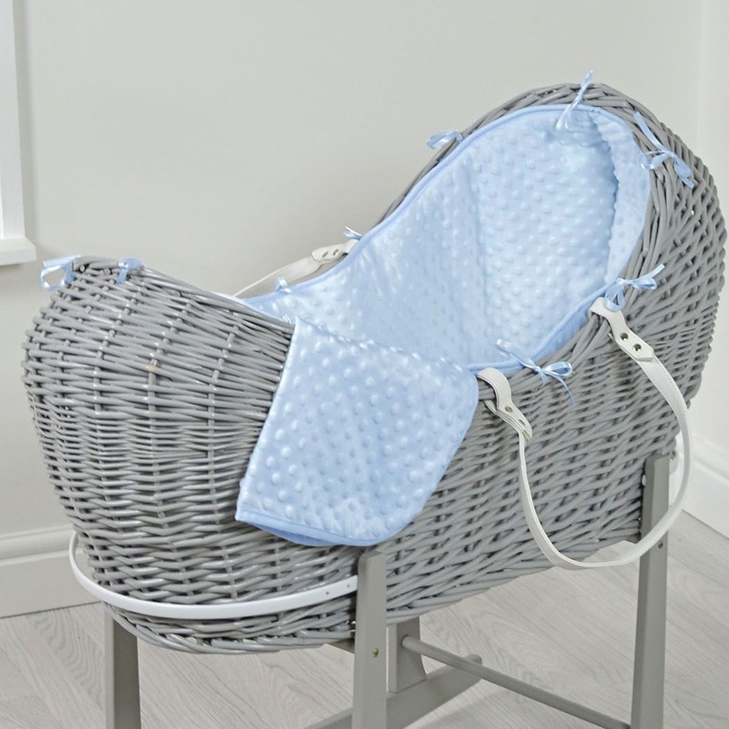 Brbaby Cuddles Pod Grey Wicker - Blue Dimples