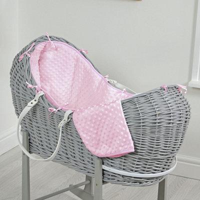 Br nursery Cuddles Pod Grey Wicker - Pink Dimples
