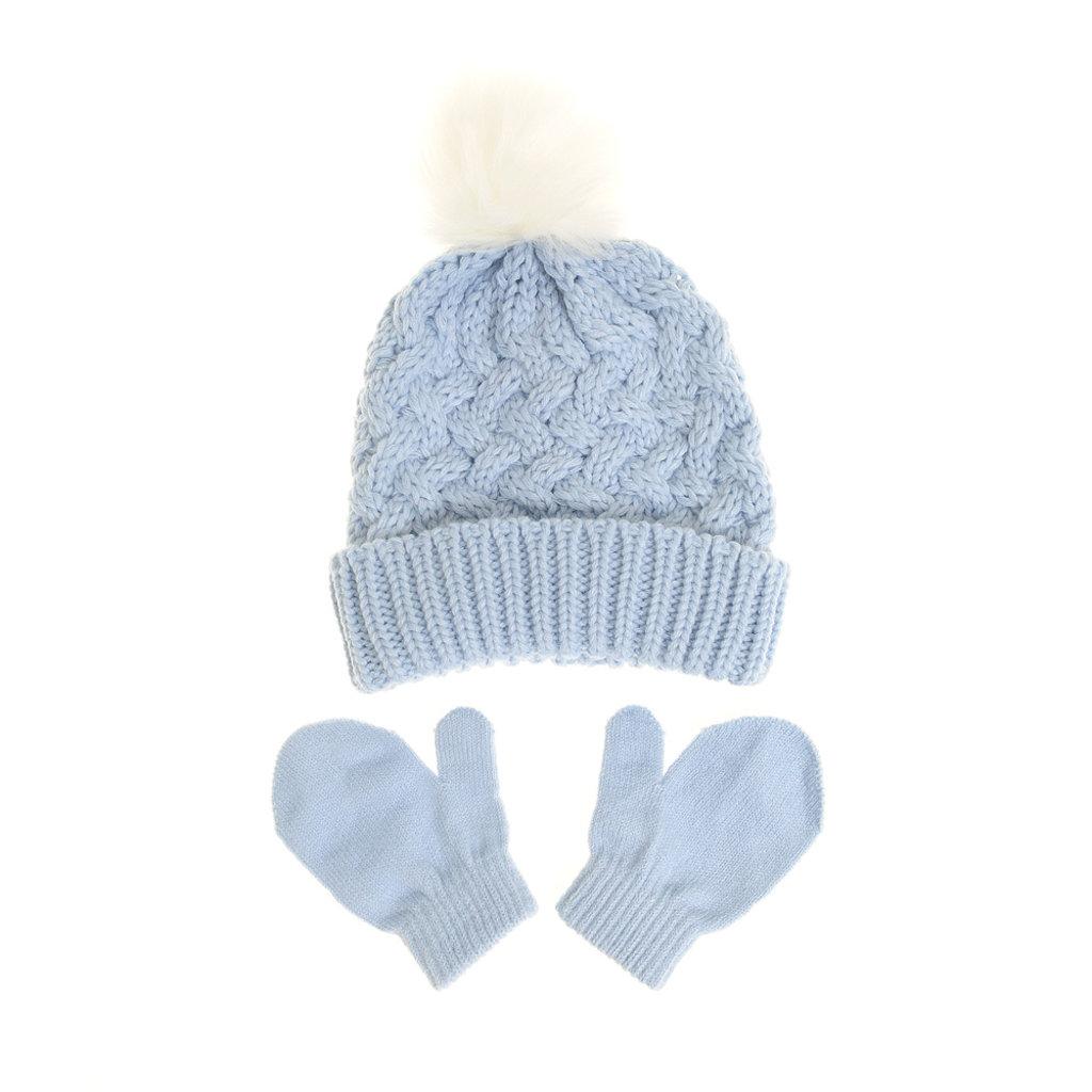 Ziggle Blue Woolen Hat & Mittens 0-12