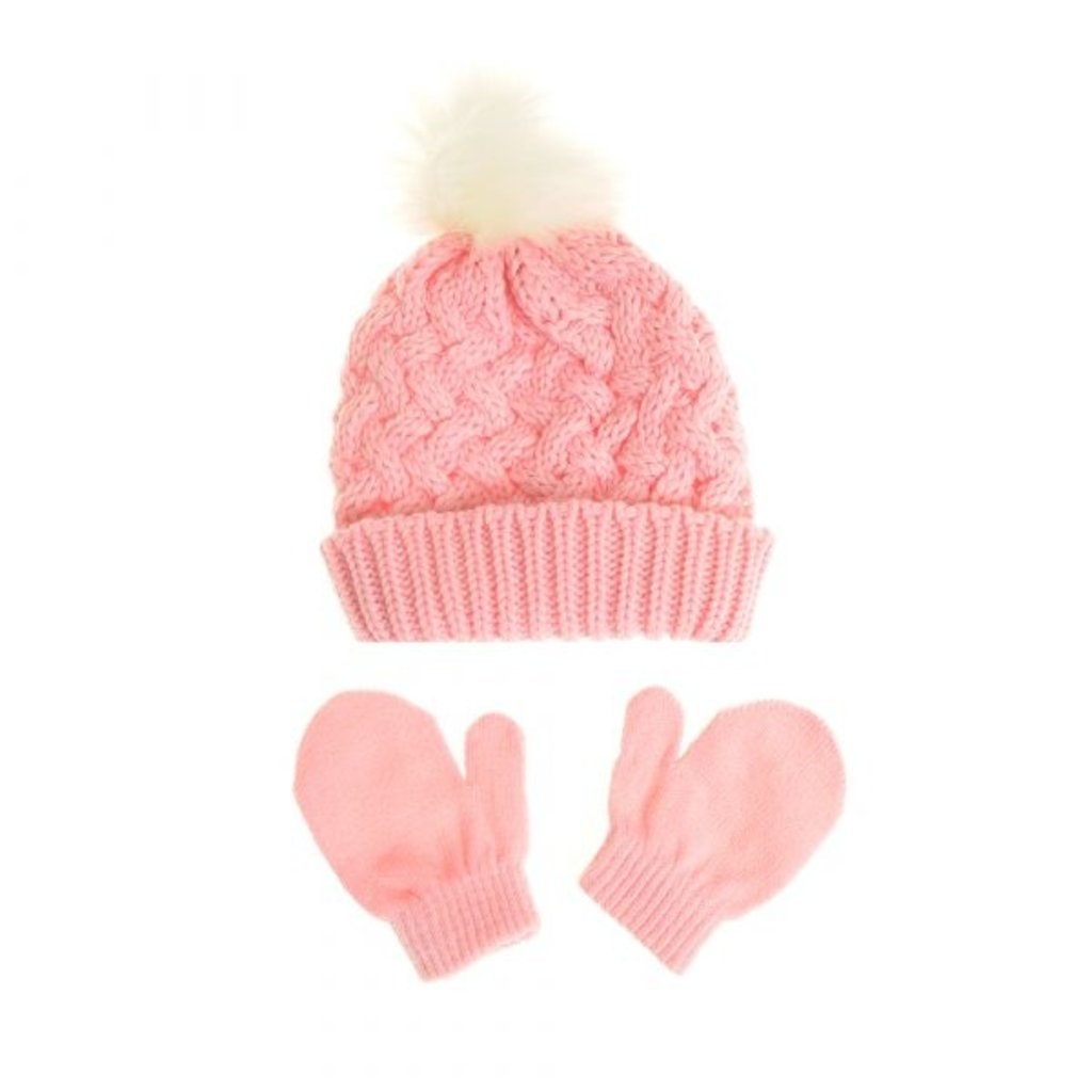 Ziggle Pink Woolen hat & Mittens 12-24