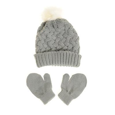 Ziggle Grey woolen Hat & Mittens 12-24