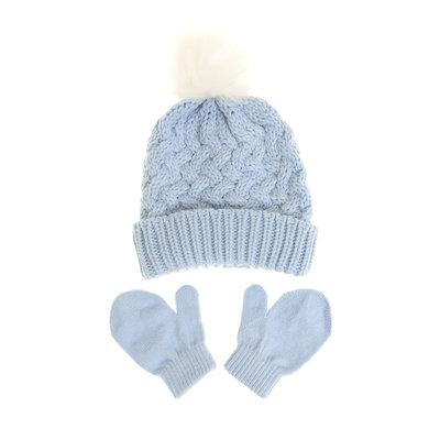 Ziggle Blue Woolen Hat & Mittens 12-24