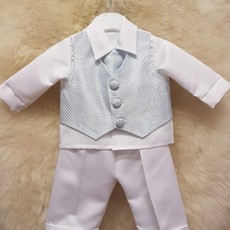 Blue Check 4pc Christening Suit  0-3mth