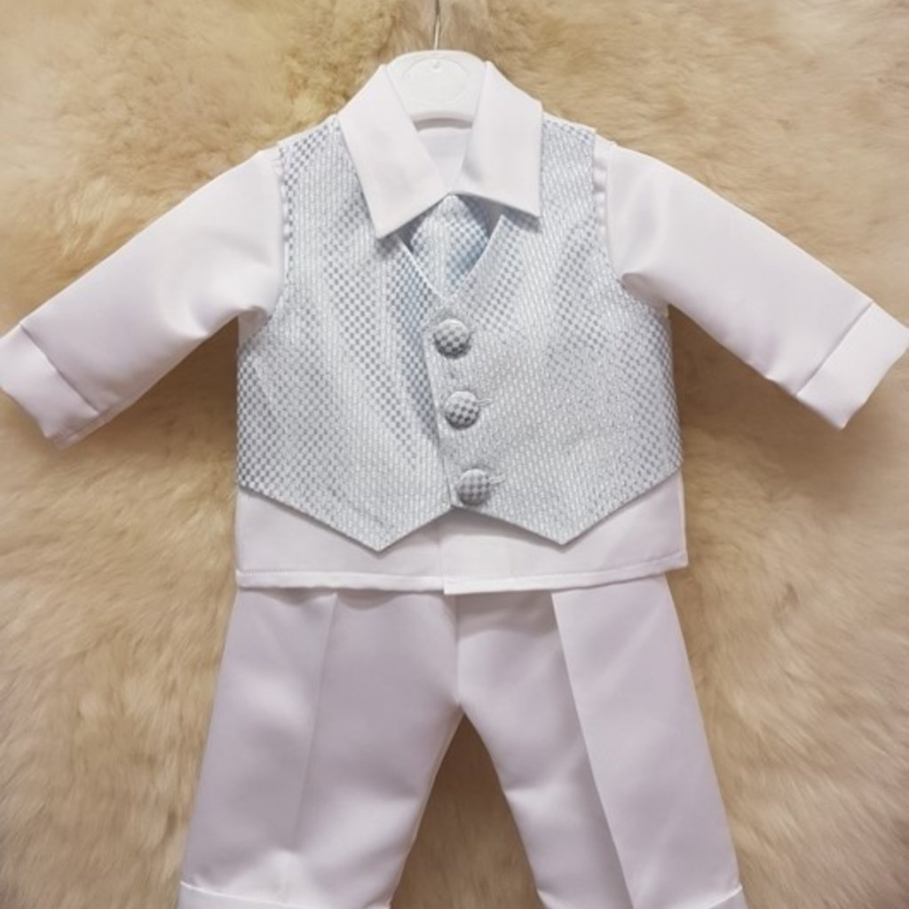 Blue Check 4pc Christening Suit 6-9mth