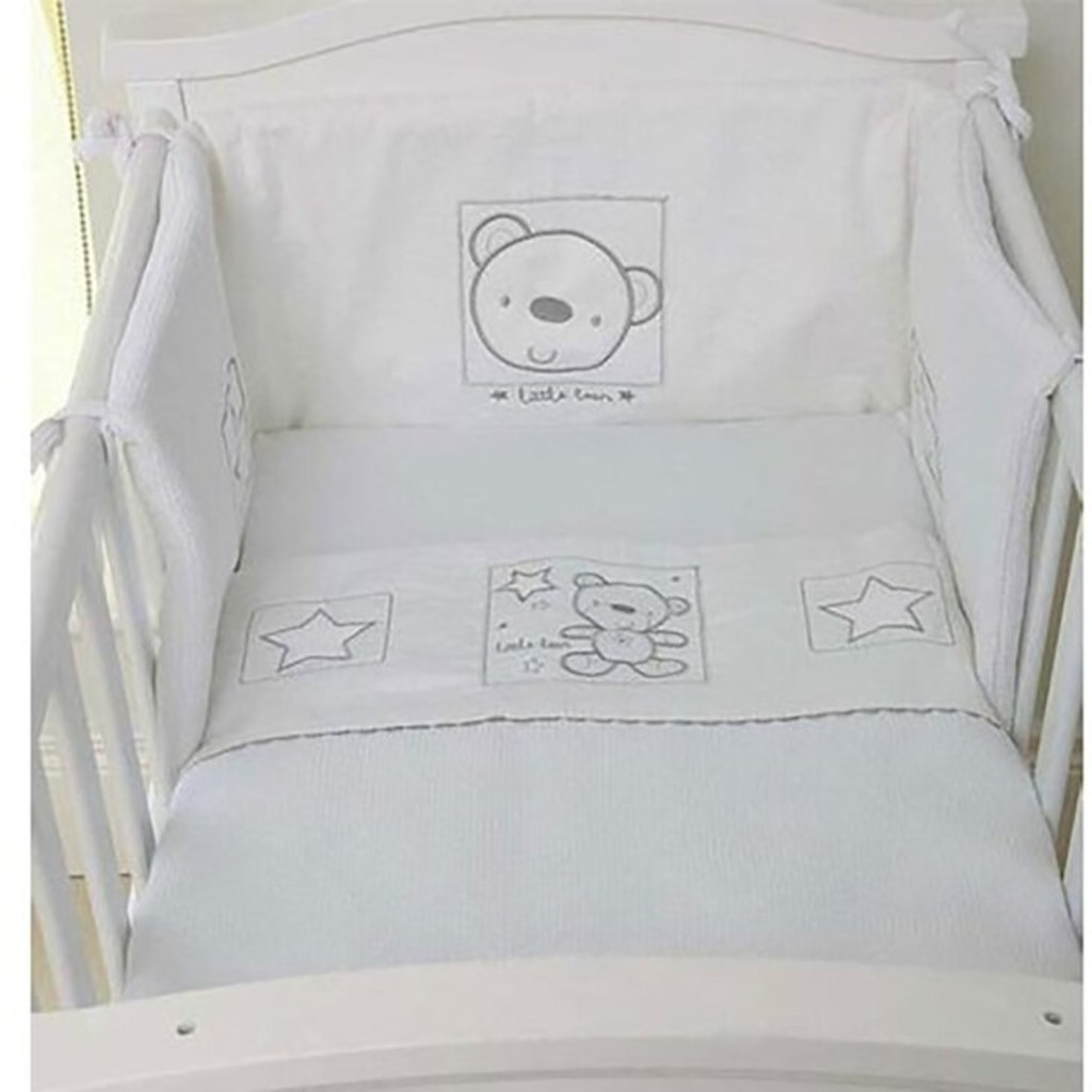 Baby Elegance Star Ted White Cot Quilt & Bumper Set