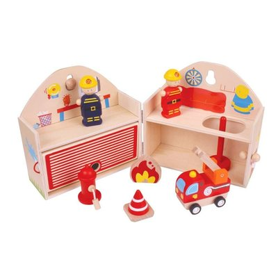 Bigjig Fire Station Mini Playset
