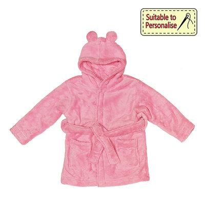 Baby Bow Pink Hooded Fleece Robe  (6 - 12)