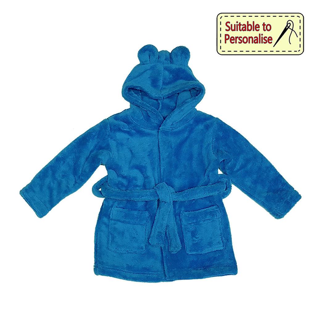 Baby Bow Dark Blue Hooded Fleece Robe (6 - 24m)