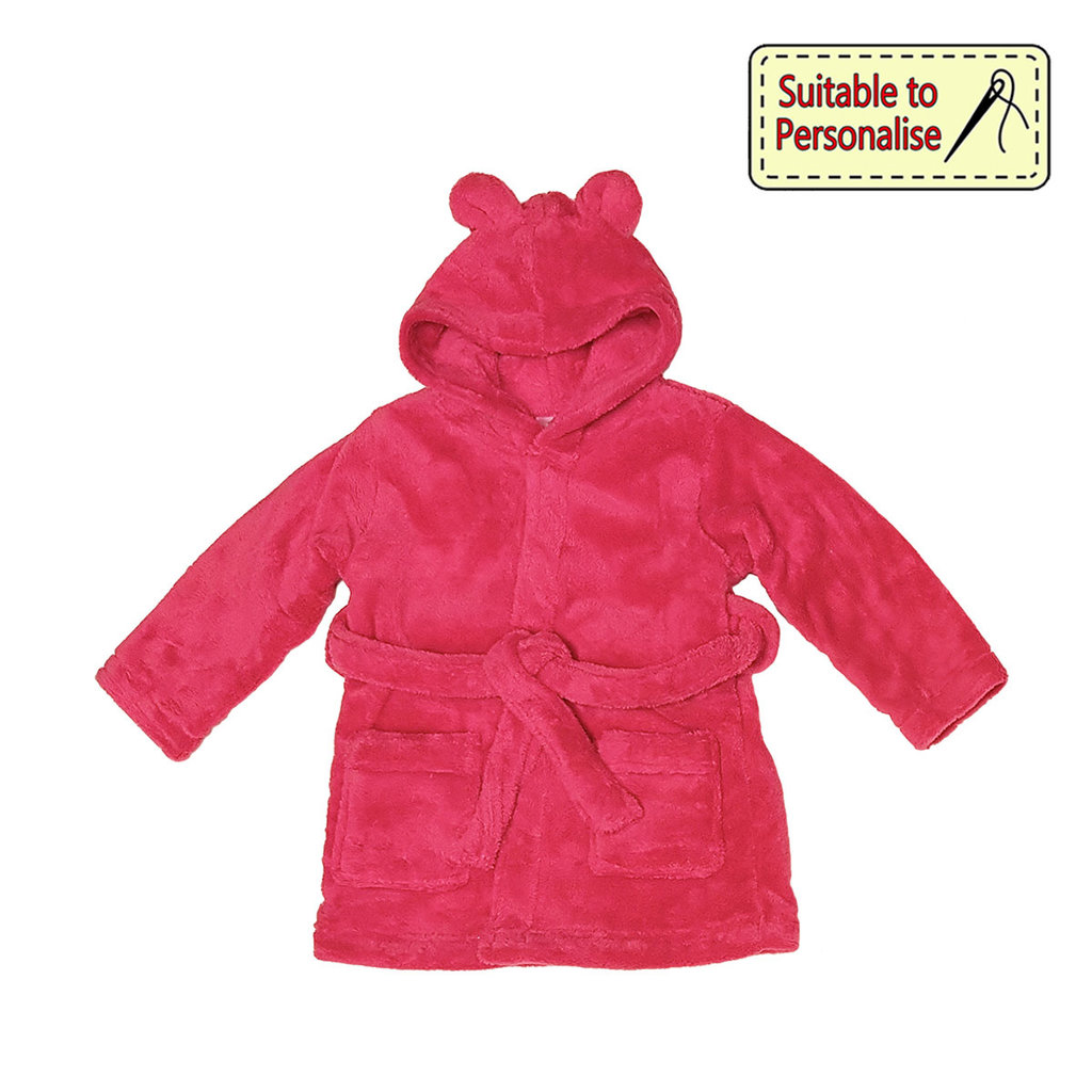 Baby Bow Dark Hooded Fleece Robe Dk. Blue/Pink 2/3