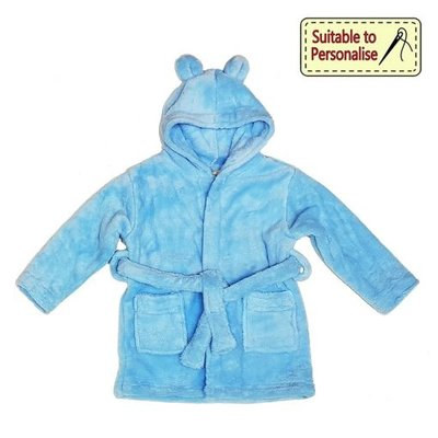 Baby Bow Blue Hooded Fleece Robe (6 - 12m)