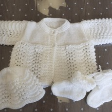 Christening cardi, hat and boots Peter Pan pattern