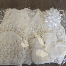 Christening Cardi, Booties &Hat New Arrival Pattern