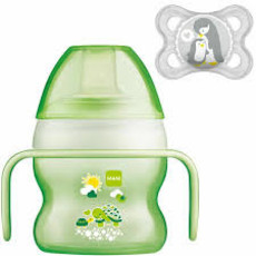 Mam MAM Starter Cup- Green 150ml with Handles and Soother