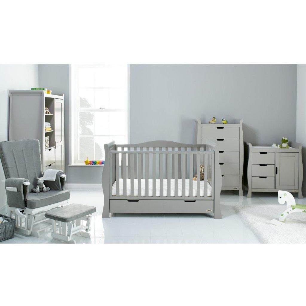 Obaby Stamford Luxe Sleigh 5 Piece Room Set – Warm Grey