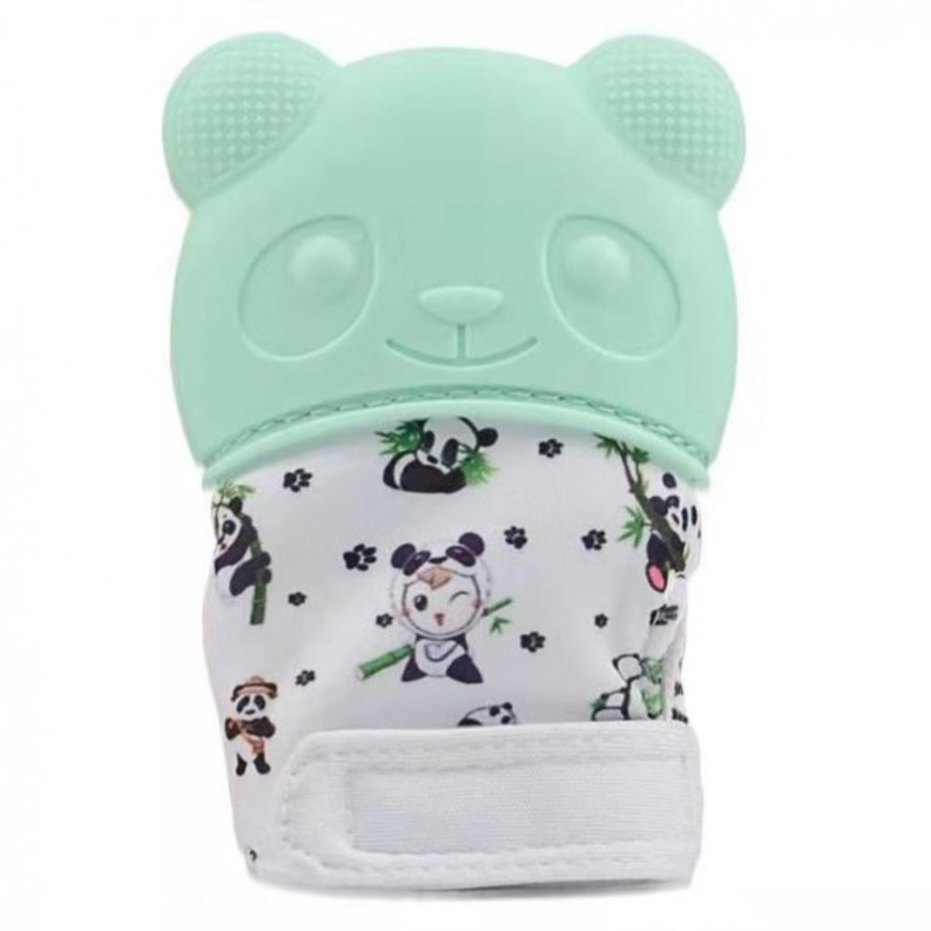 Happy Baby Happy Baby Panda Teething Mitt Green